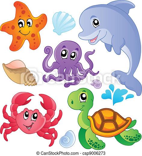 Meeresfische und Tiere sammeln drei - csp9006273