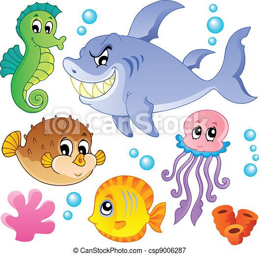 Meeresfische und Tiersammlung vier - csp9006287
