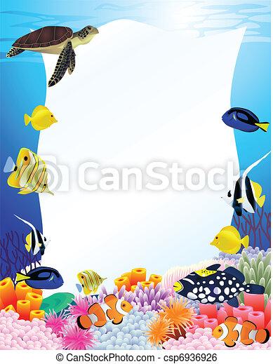Meeresleben mit leerem Zeichen - csp6936926