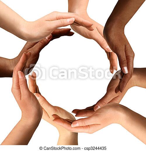 Mehrere Hände, die einen Kreis bilden - csp3244435