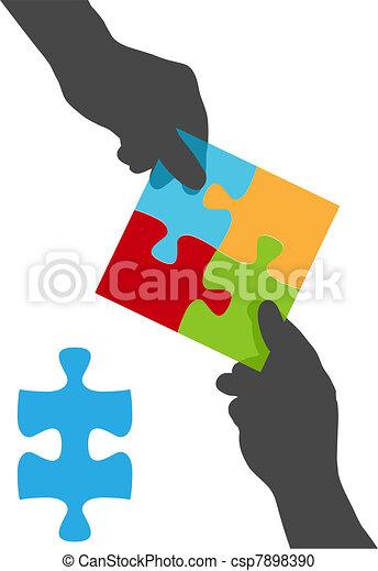 Menschen geben Teamkooperations-Lösung aus - csp7898390