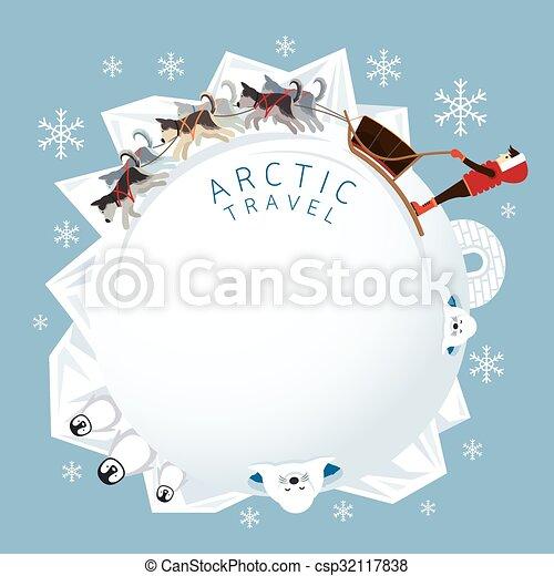 Menschen mit arktischen Hunden, die sich in den runden Rahmen legen. - csp32117838
