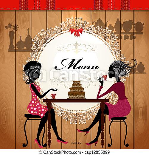 Menu-Karten-Design für ein süßes Café - csp12855899