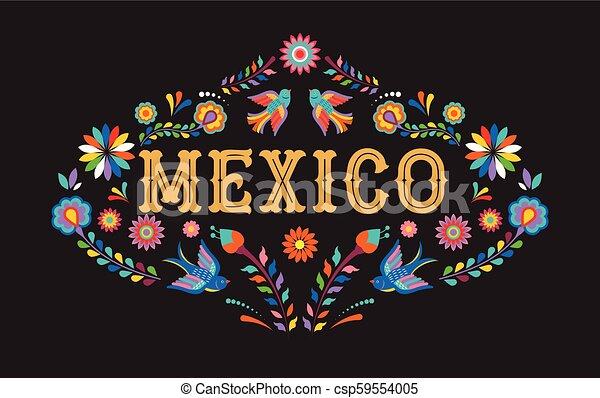 Mexiko Hintergrund, Banner mit bunten mexikanischen Blumen, Vögeln und Elementen - csp59554005