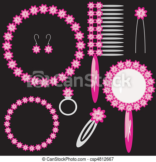 Mit weiblichen Objekten auf schwarz eingestellt - csp4812667