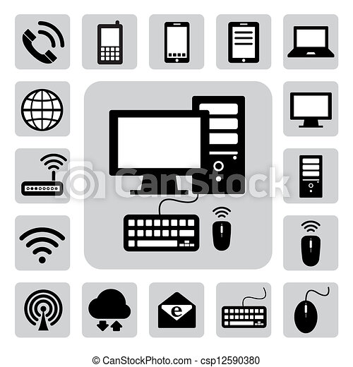 Mobilfunkgeräte, Computer und Netzwerkverbindungen sind eingestellt. Illustration - csp12590380