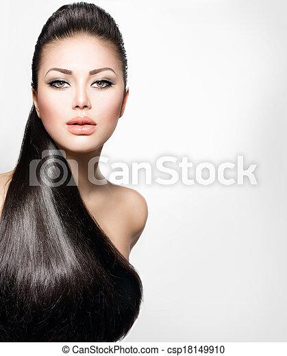 Model-Mädchen mit langen, gesunden, geraden Haaren. - csp18149910