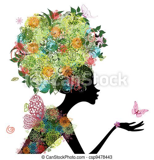 Modemädchen mit arabesken Haaren - csp9478443