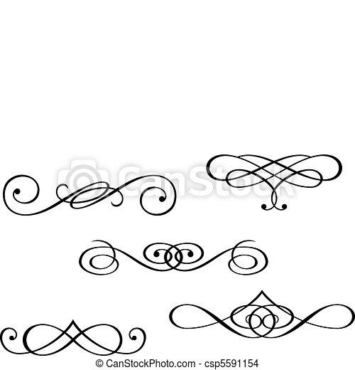 Monogramme und Wirbelelemente. - csp5591154