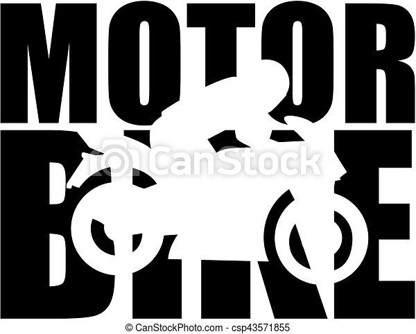 Motorrad-Wort mit Ausschnitt Silhouette. - csp43571855