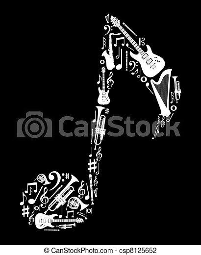 Musikinstrumente in Notform - csp8125652