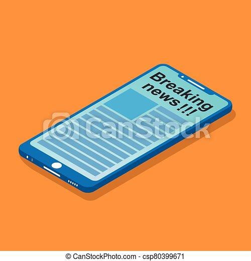 nachrichten, schirm, smartphone - csp80399671