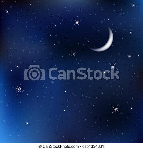 Nachthimmel mit Mond und Sternen - csp4334831