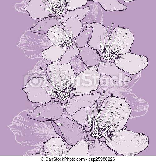Naheloser Frühlingshintergrund mit Apfelblumen, Handarbeit. - csp25388226