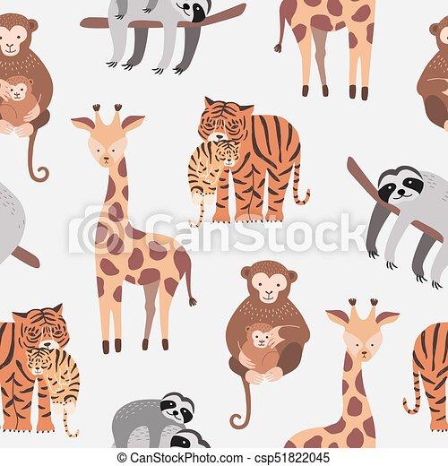 Nahtlose Muster mit verschiedenen süßen und lustigen Trickfilm-Zoo-Tiere auf weißem Hintergrund - Affen, Sloth, Tiger, Giraffe. Farbige Vektorgrafik für Stoffdruck, Tapete, Verpackungspapier. - csp51822045