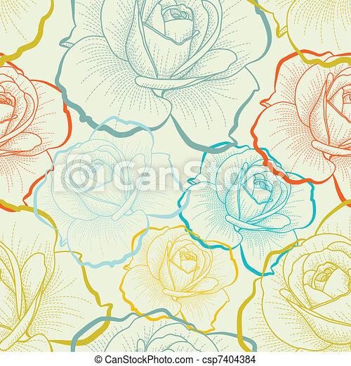 Nahtloses Muster mit farblichen Handzeichnungen Rosen. - csp7404384