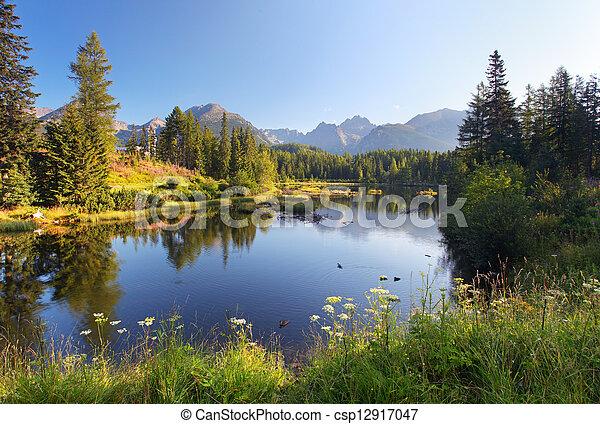 Natürliche Bergszene mit einem wunderschönen See in der Slowakei Tatra - Strbske pleso - csp12917047