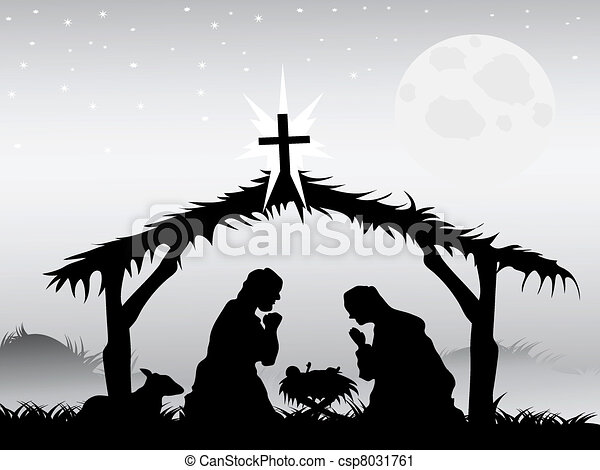Nativity-Szene, Vector - csp8031761