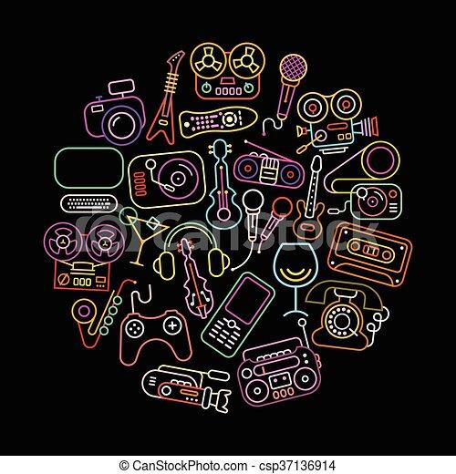 Neonfarbene Unterhaltungs-Icons - csp37136914