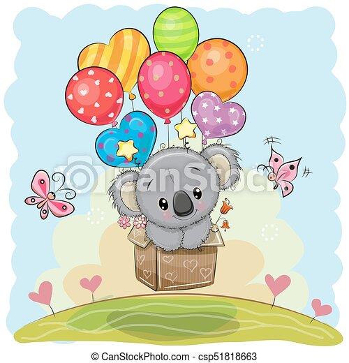 Netter Cartoon Koala mit Ballons. - csp51818663
