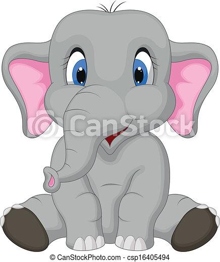 Netter Elefant-Cartoon. - csp16405494