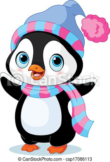Netter Winter Pinguin. - csp17086113