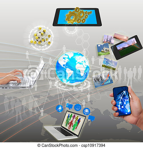 Teilen Informationen, Synchronisation, Wolkennetz - csp10917394