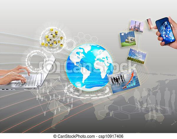 networking, synchronisierung, anteil, strömend, informationen, wolke - csp10917406