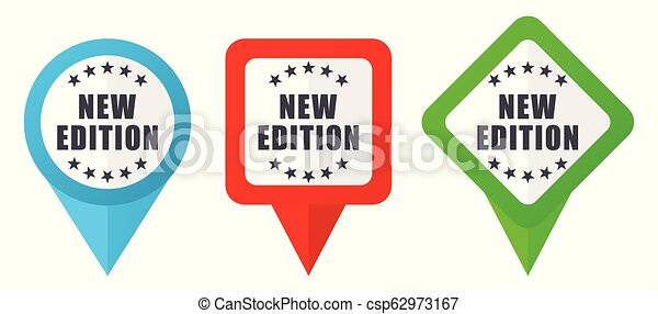 Neue Ausgabe Zeichen rote, blaue und grüne Vektorzeiger Icons. Farbige Positionsmarker, isoliert auf weißem Hintergrund leicht zu bearbeiten - csp62973167