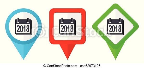 Neujahr 2018 Zeichen rote, blaue und grüne Vektorzeiger Icons. Farbige Positionsmarker, isoliert auf weißem Hintergrund leicht zu bearbeiten - csp62973128