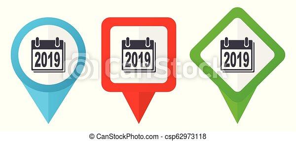 Neujahr 2019 Zeichen rote, blaue und grüne Vektorzeiger Icons. Farbige Positionsmarker, isoliert auf weißem Hintergrund leicht zu bearbeiten - csp62973118