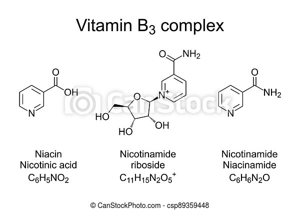 niacin, komplex, nicotinamide, chemische , nicotinamide, b3, formeln, vitamin, riboside - csp89359448