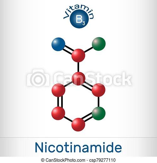 nicotinamide, gefunden, gebraucht, diätetisch, vitamin, ihm, lebensmittel, b3, nam, c6h6n2o, modell, molecule., molekül, supplement. - csp79277110
