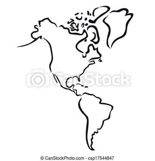 nord, landkarte, amerika, süden - csp17544847