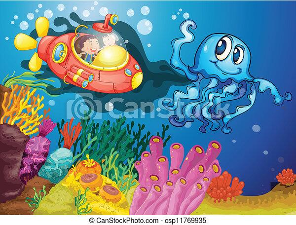 Octopus und Kinder im U-Boot - csp11769935