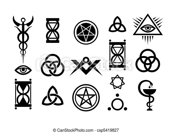 Okkulte Zeichen und magische Briefmarken - csp5419827
