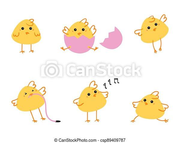 ostern, chickens., satz - csp89409787