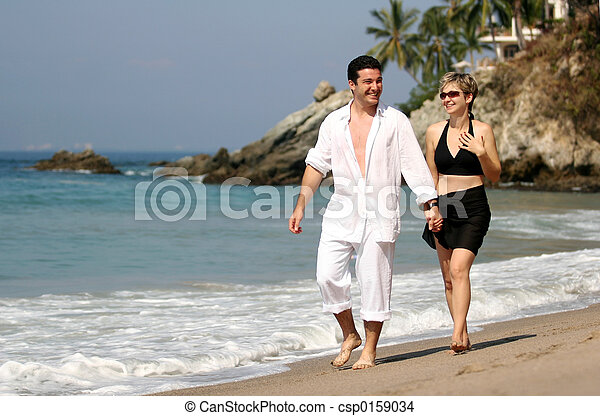 paar, sandstrand - csp0159034