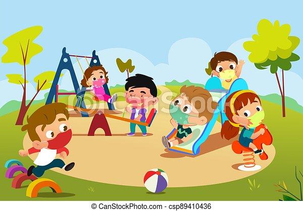 pandemisch, spielplatz, spielende kinder, abbildung, während - csp89410436