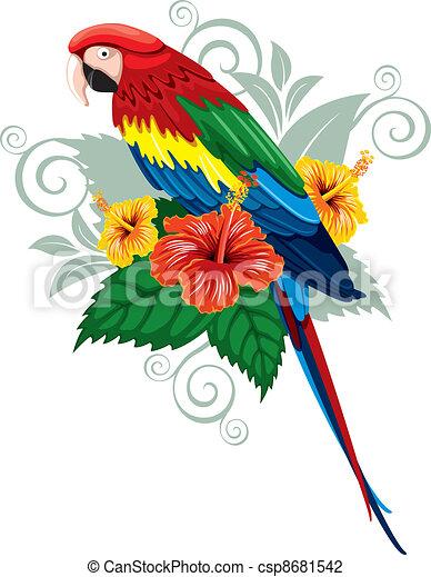 Papagei und tropische Blumen - csp8681542