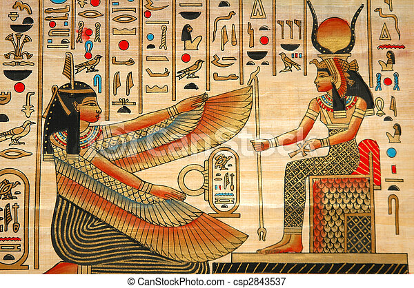 Papyrus mit Elementen egyptischer alter Geschichte - csp2843537