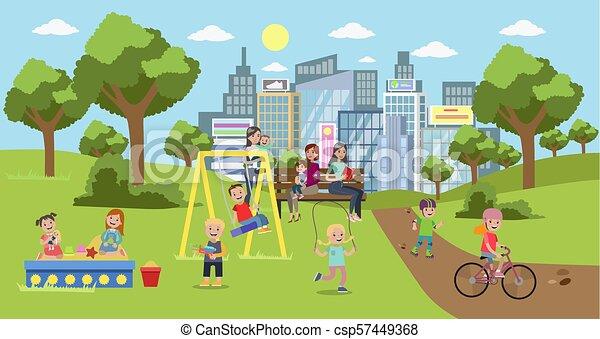 Park in der Stadt. - csp57449368