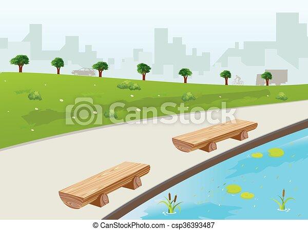 Park in der Stadt. - csp36393487