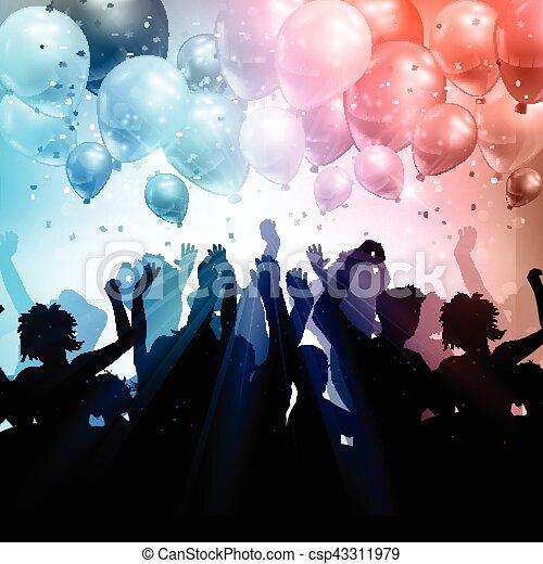 Party-Menschen auf einem Ballon und Konfetti Hintergrund. - csp43311979