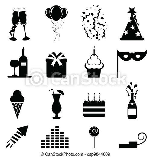 Party und Feier-Ikonen - csp9844609