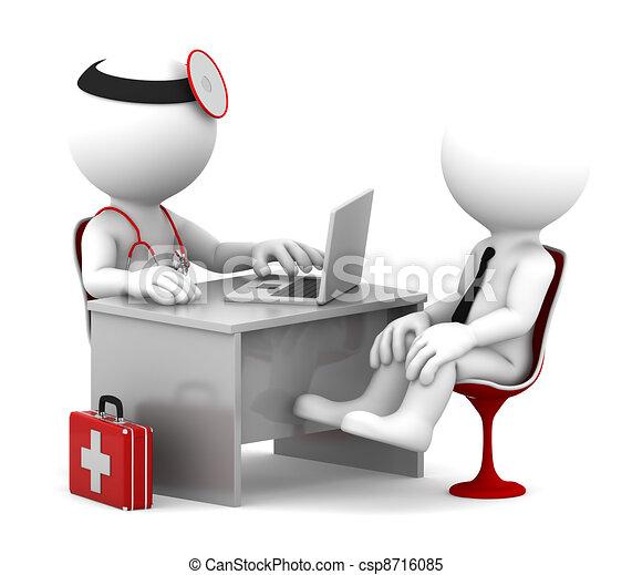 Medizinische Konsultation. Doktor und Patient reden im Büro - csp8716085