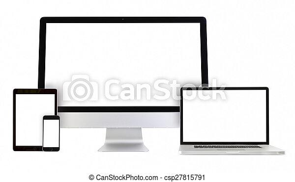 Computer, Laptop, Telefon, Tablet PC - csp27815791