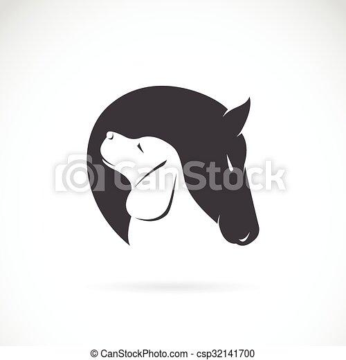 bild von pferd und hund auf weißem hintergrund  canstock
