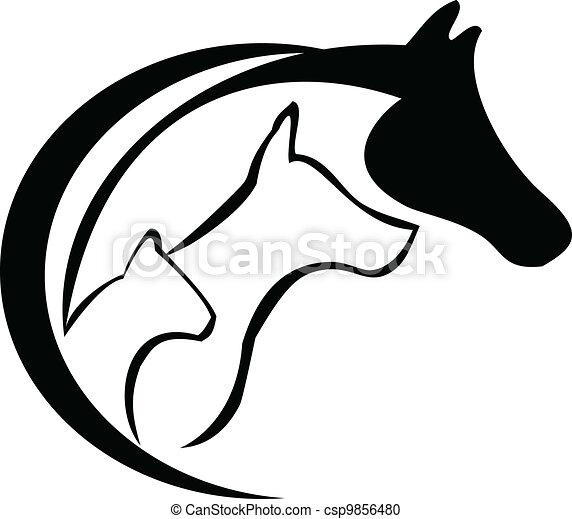 Pferd, Katze und Hund - csp9856480