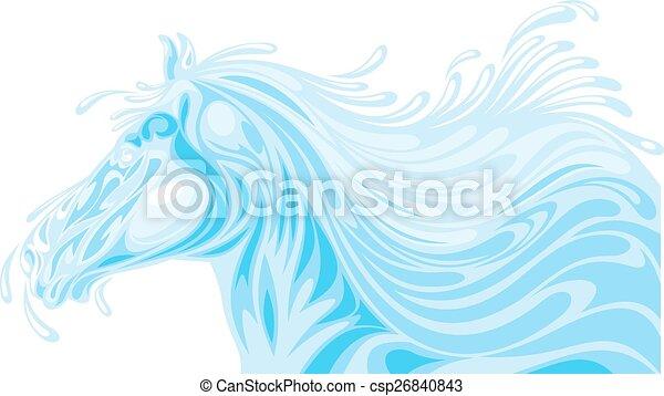 Pferdekopf aus Wasserwellen. - csp26840843